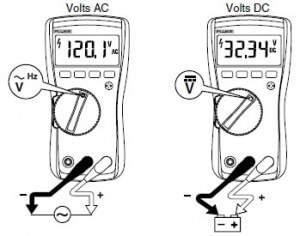Fluke 117 digital multimeter measuring Ac & Dc voltage set-up