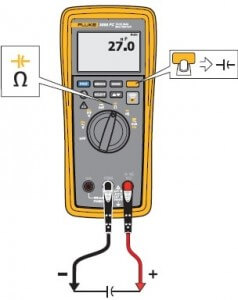 3000FC fluke wireless multimeter measuring capacitance set-up