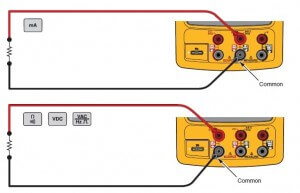Measurement set-up of electrical parameters using Fluke 754 calibrator