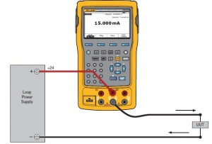 Source set-up of 4 to 20 mA transmitter using Fluke 754 calibrator