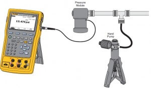 Measurement set-up of pressure using Fluke 754 calibrator