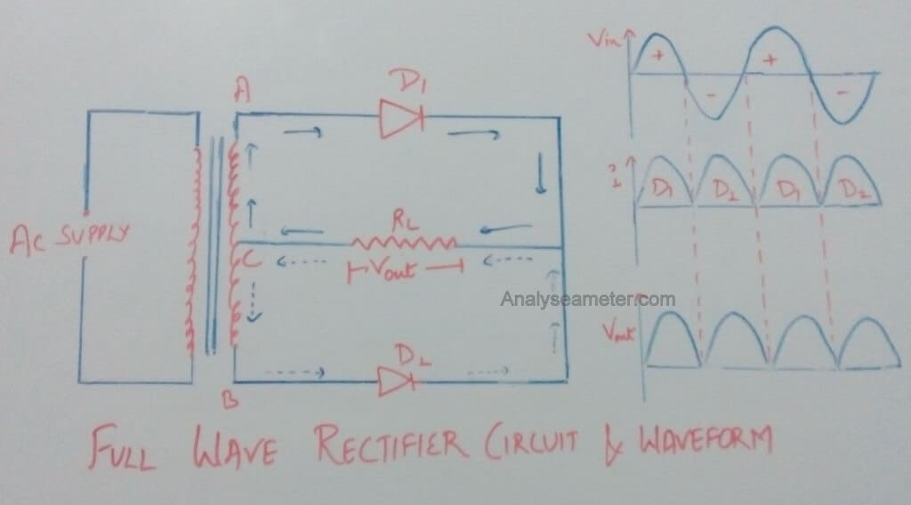 Full wave rectifier circuit image