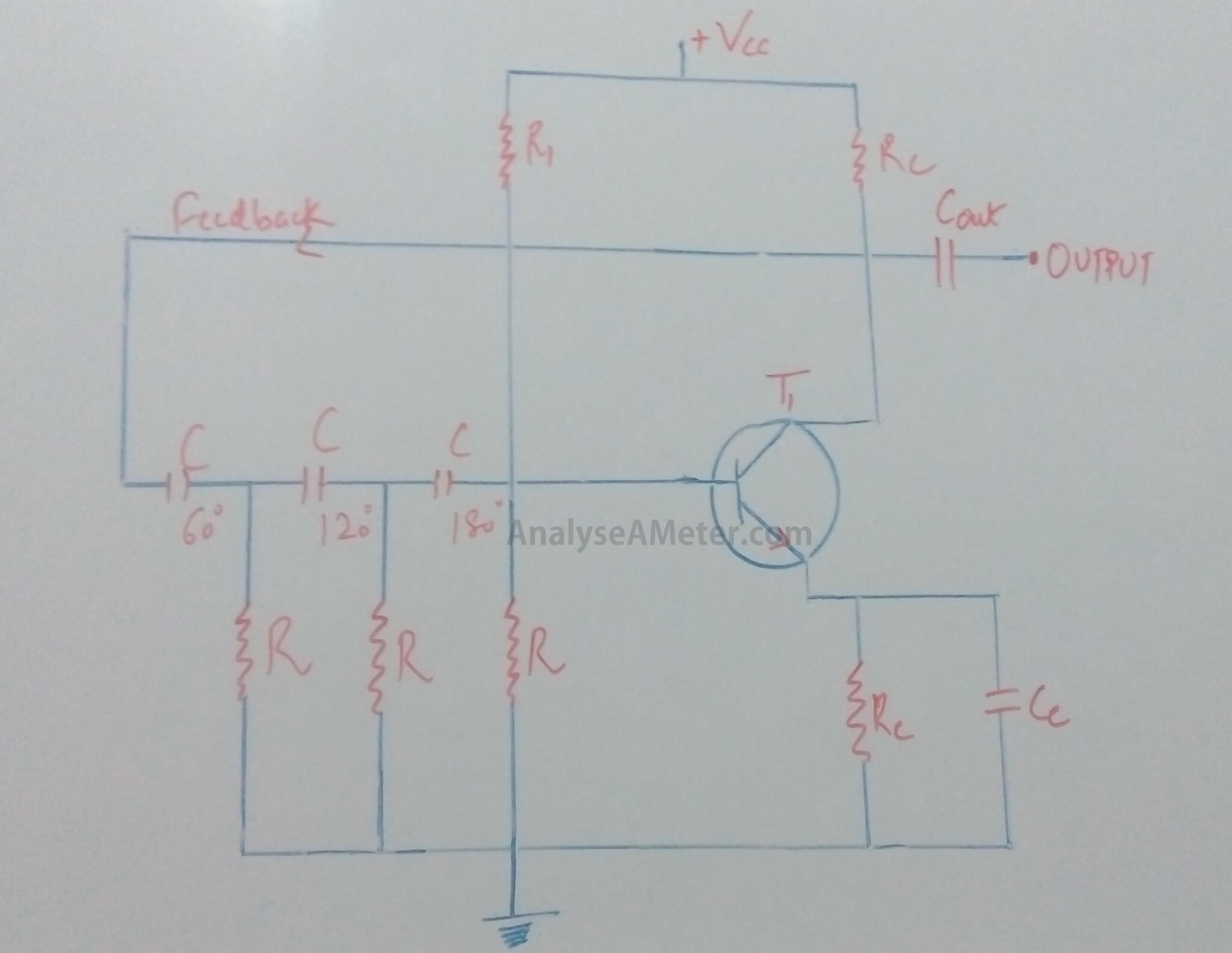 (i) RC phase shift oscillator circuit using Transistor: