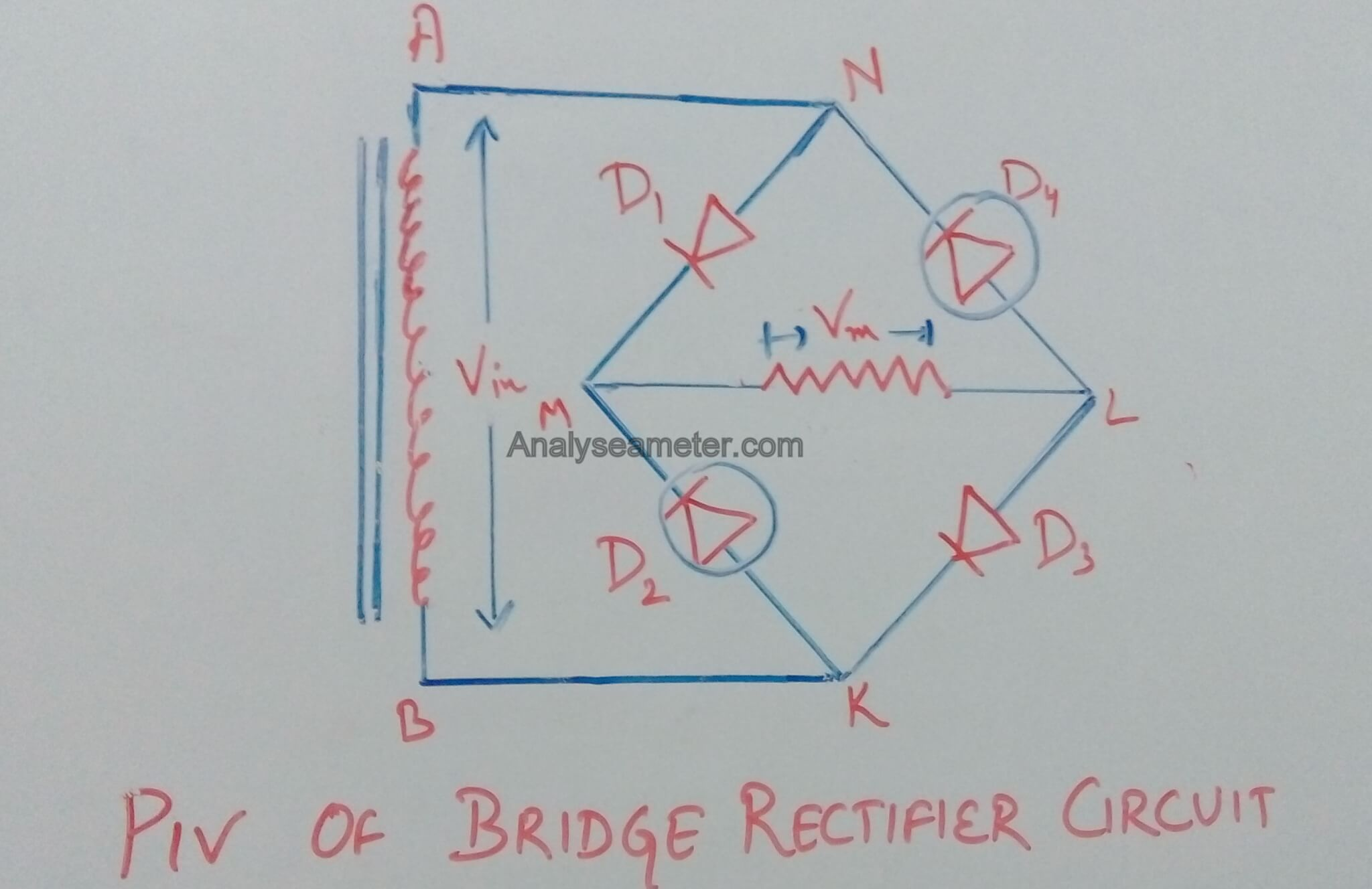 bridge rectifier circuit and operation piv of bridge rectifier circuit image