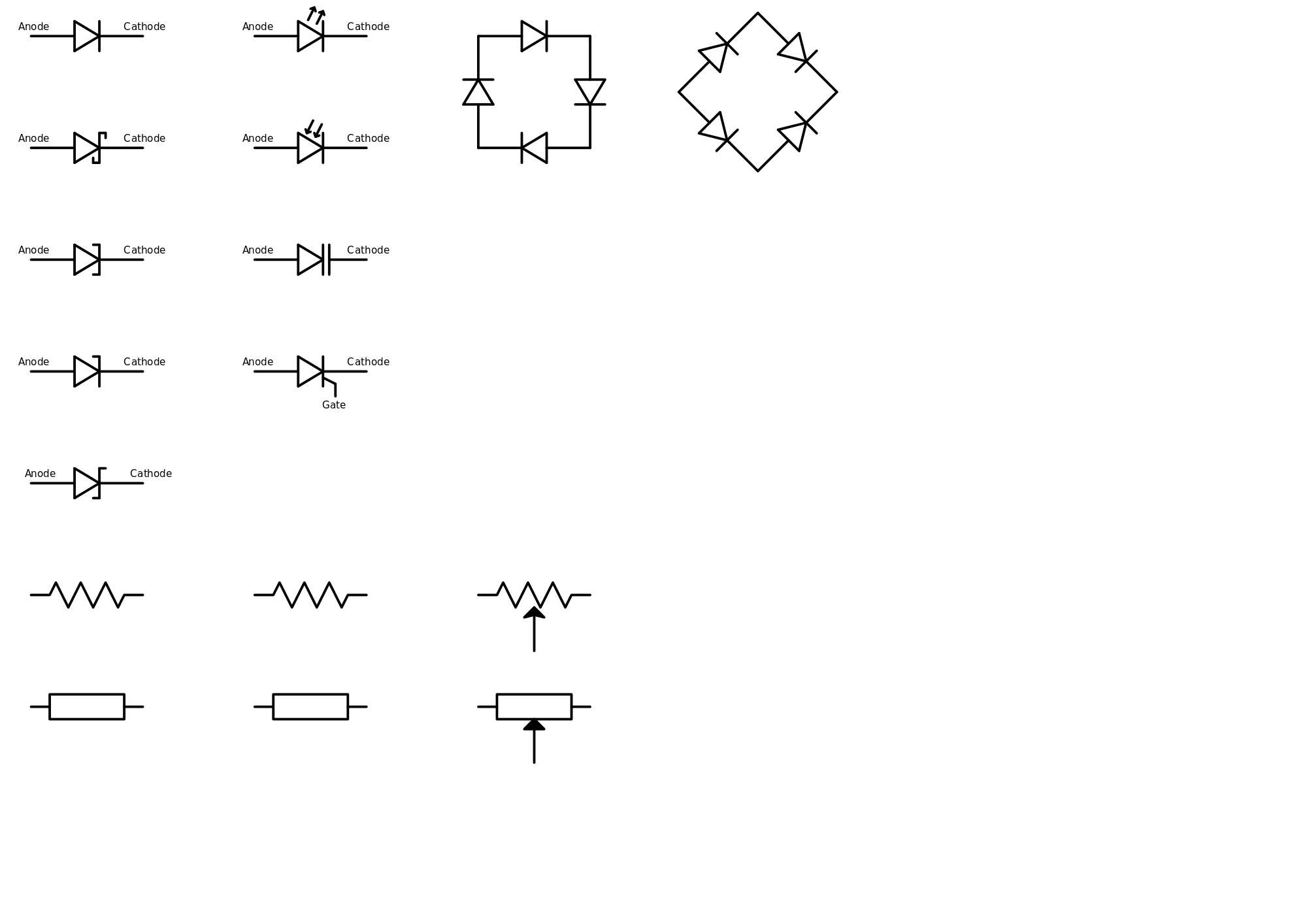 electrical symbols of different components